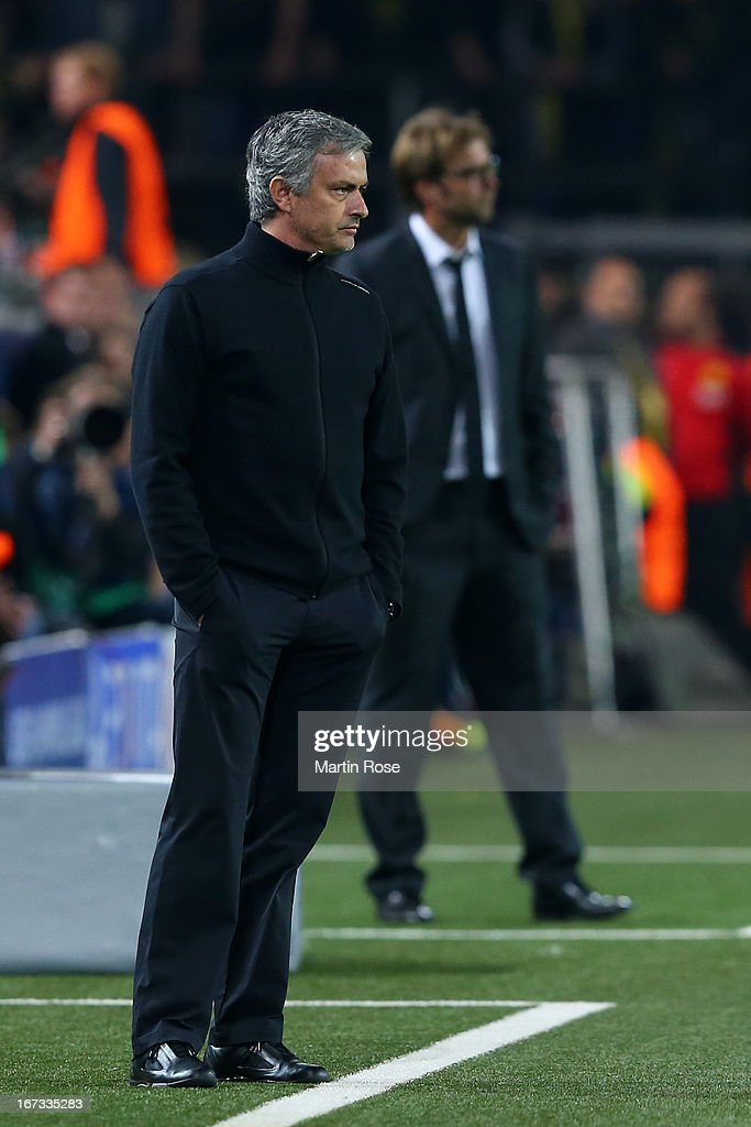 Head coach Jose Mourinho of Real Madrid looks on during the UEFA Champions League semi final first leg match between Borussia Dortmund and Real Madrid at Signal Iduna Park on April 24, 2013 in Dortmund, Germany.