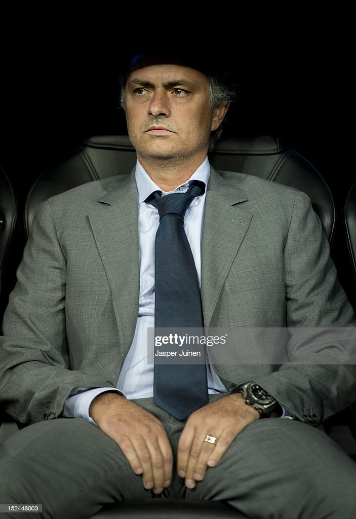 Head coach Jose Mourinho of Real Madrid looks on from the bench during the UEFA Champions League group D match between Real Madrid and Manchester City FC at the Estadio Santiago Bernabeu on September 18, 2012 in Madrid, Spain.