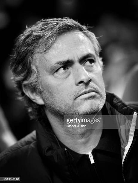 Head coach Jose Mourinho of Real Madrid looks on prior to the start of the UEFA Champions League group D match between AFC Ajax and Real Madrid at...