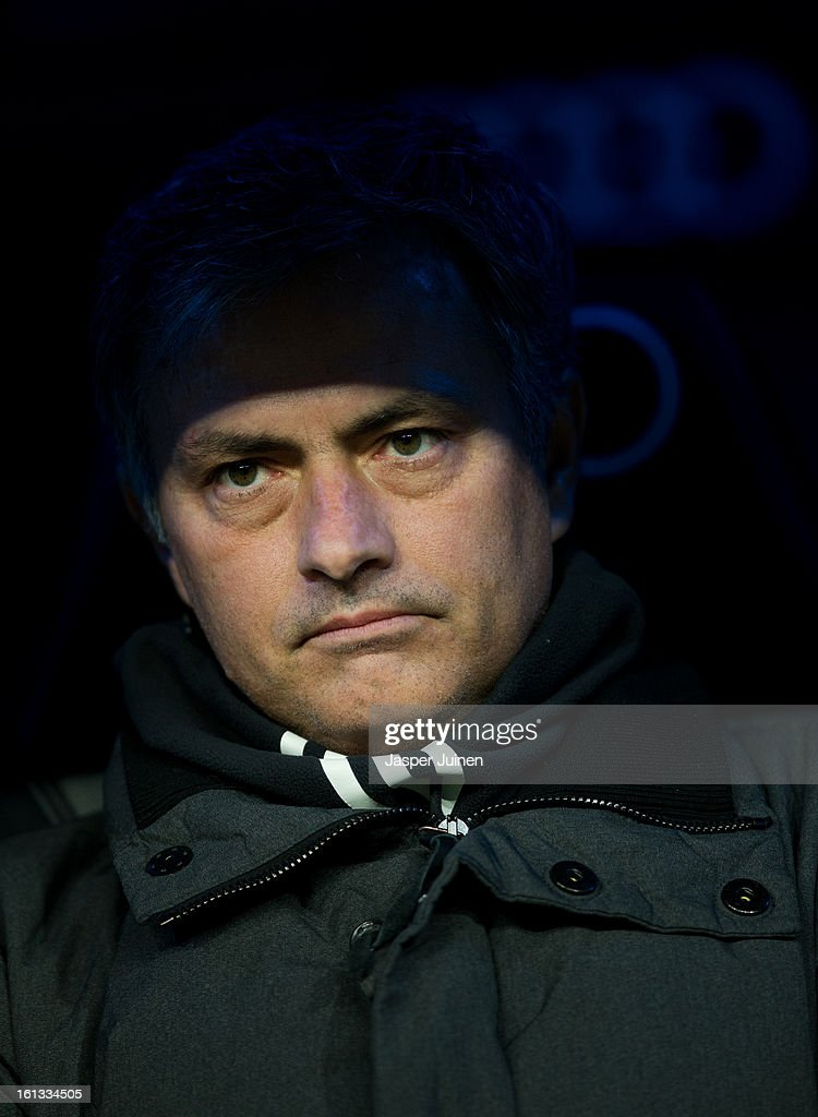 Head coach Jose Mourinho of Real Madrid looks on prior to the start of the la Liga match between Real Madrid CF and Sevilla FC at Estadio Santiago Bernabeu on February 9, 2013 in Madrid, Spain.