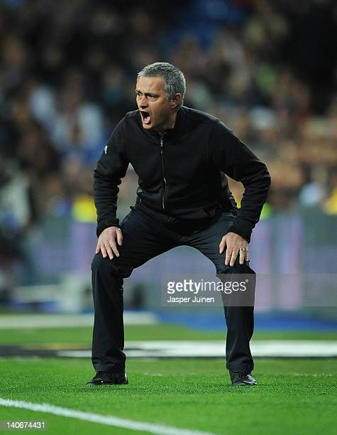 Head coach Jose Mourinho of Real Madrid reacts during the la Liga match between Real Madrid and Espanyol at Estadio Santiago Bernabeu on March 4 2012...