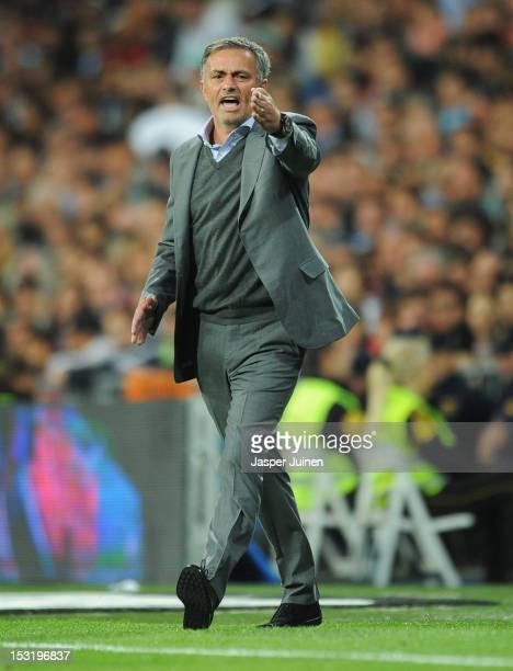 Head coach Jose Mourinho of Real Madrid reacts during the la Liga match between Real Madrid CF and RC Deportivo La Coruna at the Santiago Bernabeu...