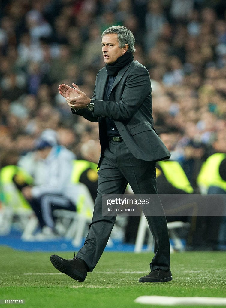 Head coach Jose Mourinho of Real Madrid reacts during the UEFA Champions League Round of 16 first leg match between Real Madrid and Manchester United at Estadio Santiago Bernabeu on February 13, 2013 in Madrid, Spain.