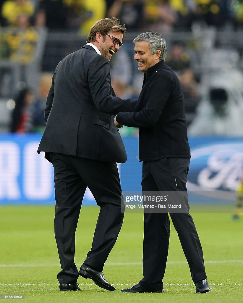 Head coach Jose Mourinho (R) of Real Madrid shakes hands with Head coach Jurgen Klopp of Borussia Dortmund before the UEFA Champions League Semi Final first leg match between Borussia Dortmund and Real Madrid at Signal Iduna Park on April 24, 2013 in Dortmund, Germany.