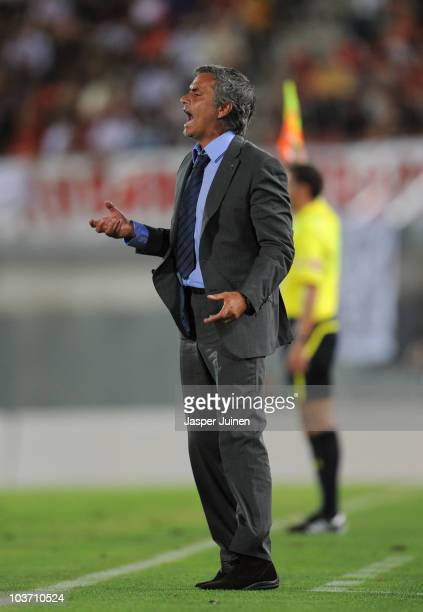Head coach Jose Mourinho of Real Madrid shouts to his players during the La Liga match between Mallorca and Real Madrid at the ONO Estadio on August...