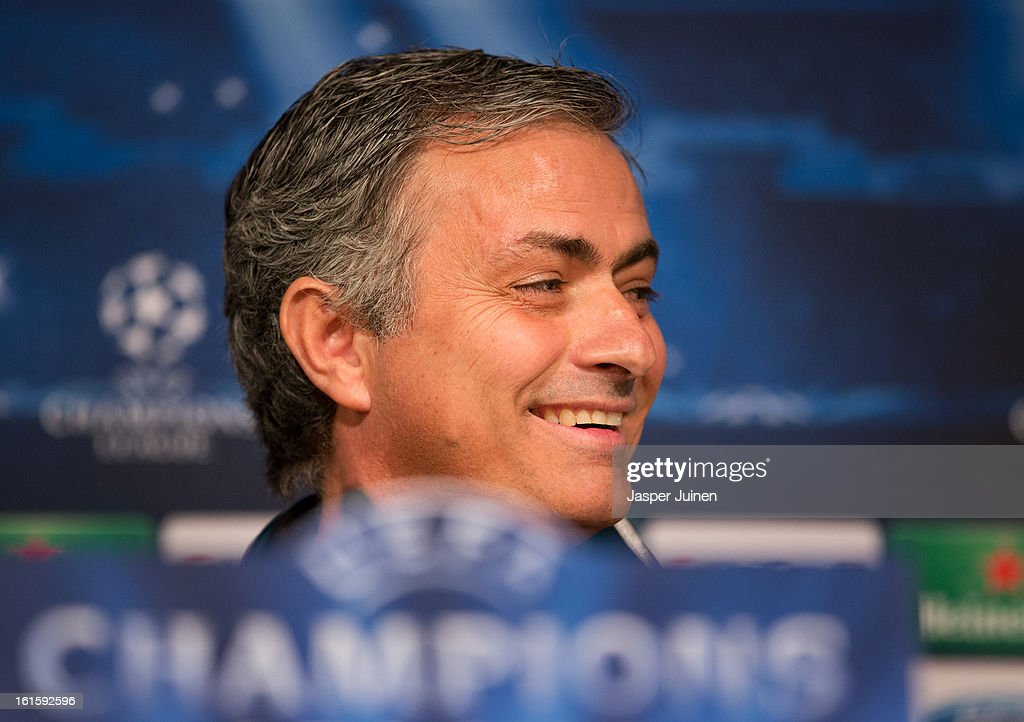 Head coach Jose Mourinho of Real Madrid smiles as he speaks to the media during a press conference ahead of the UEFA Champions League match between Real Madrid CF and Manchester United at the Valdebebas training ground on February 12, 2013 in Madrid, Spain.