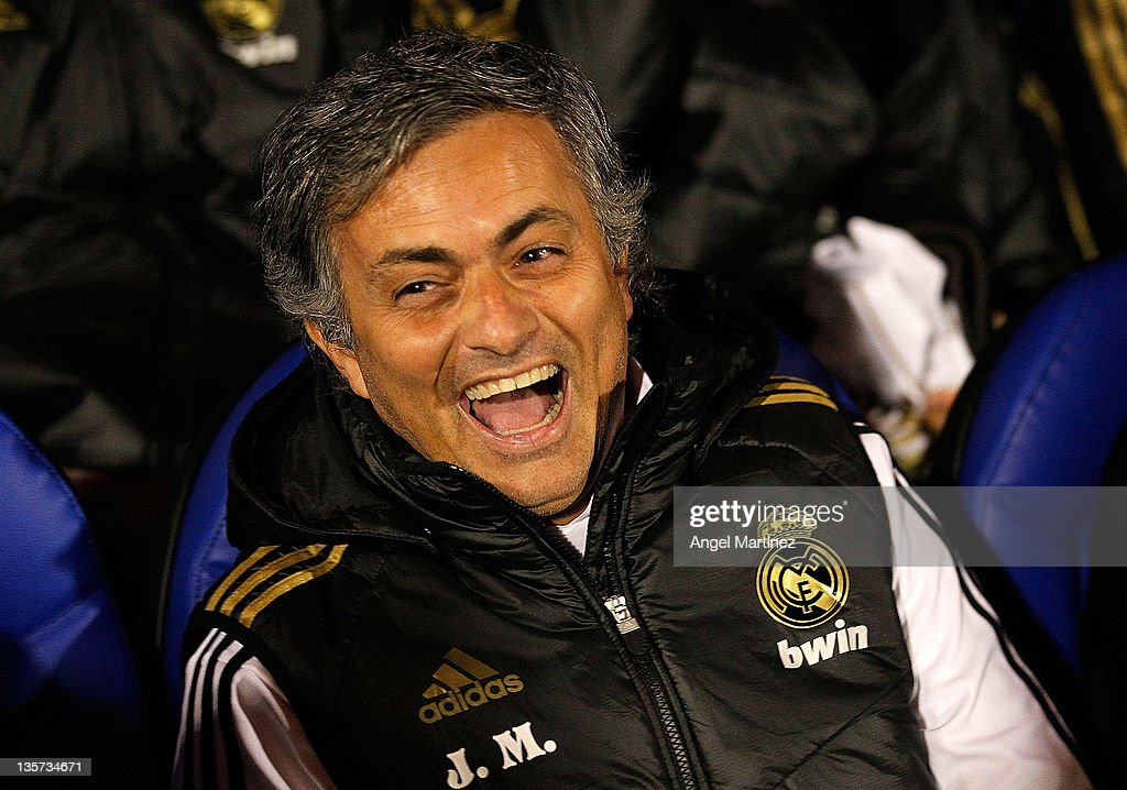 Head coach Jose Mourinho of Real Madrid smiles before of the round of last 16 Copa del Rey first leg match between Ponferradina and Real Madrid at Estadio El Toralin on December 13, 2011 in Ponferrada, Spain.
