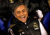Head coach Jose Mourinho of Real Madrid smiles before of the round of last 16 Copa del Rey first leg match between Ponferradina and Real Madrid at...