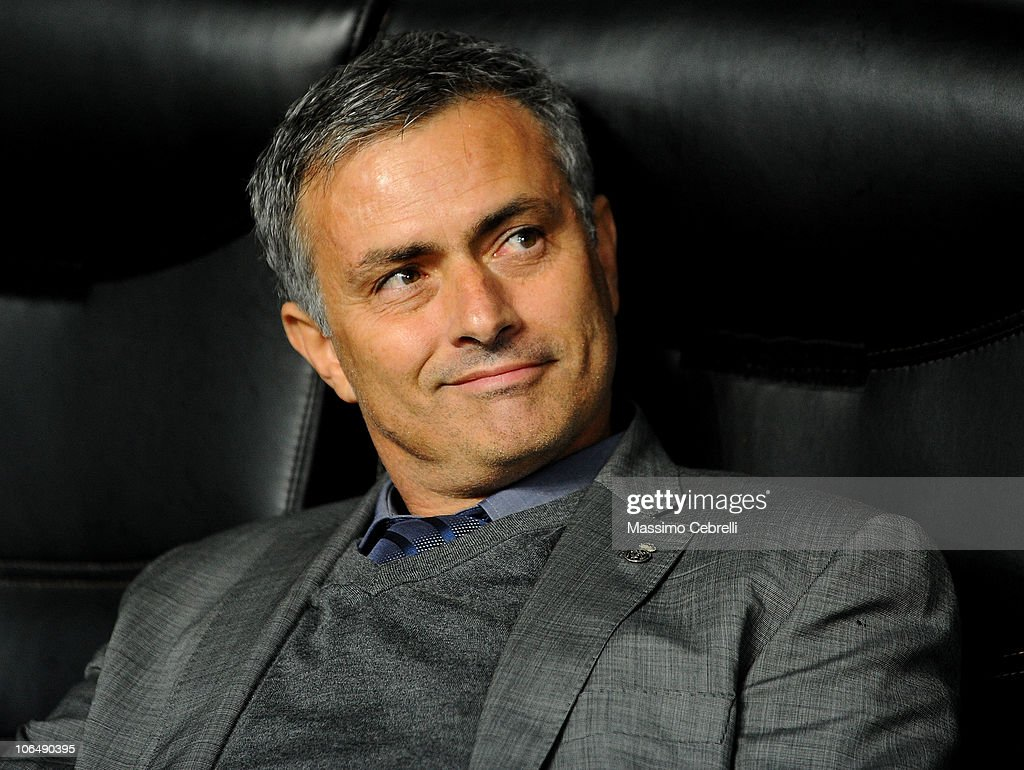 Head coach Jose Mourinho of Real Madrid smiles during the Uefa Champions League group G match between AC Milan and Real Madrid at Stadio Giuseppe Meazza on November 3, 2010 in Milan, Italy.
