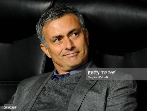Head coach Jose Mourinho of Real Madrid smiles during the Uefa Champions League group G match between AC Milan and Real Madrid at Stadio Giuseppe...