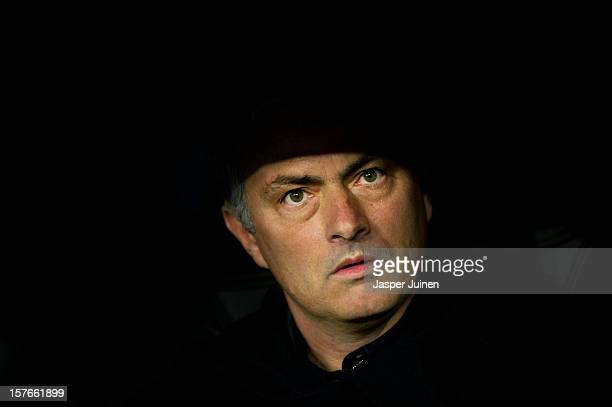 Head coach Jose Mourinho of Real Madrid wait for the start of the UEFA Champions League Group D match between Real Madrid CF and Ajax Amsterdam at...