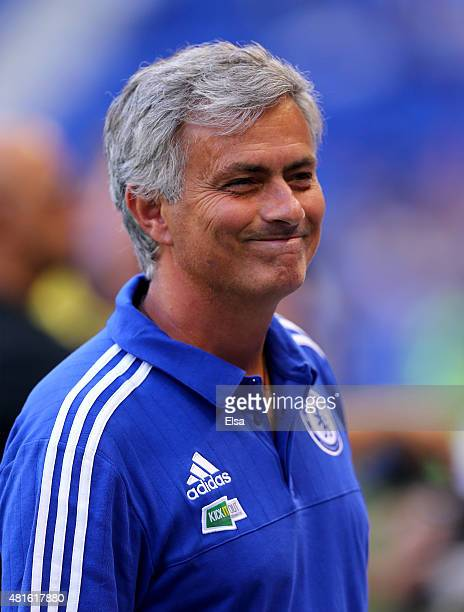Head coach Jose Mourinho of the Chelsea looks on during warm ups before the International Champions Cup match against the New York Red Bulls at Red...
