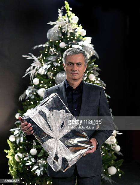 Head coach Jose Mourinho poses during a Real Madrid Christmas portrait session at Estadio Santiago Bernabeu on December 23 2012 in Madrid Spain