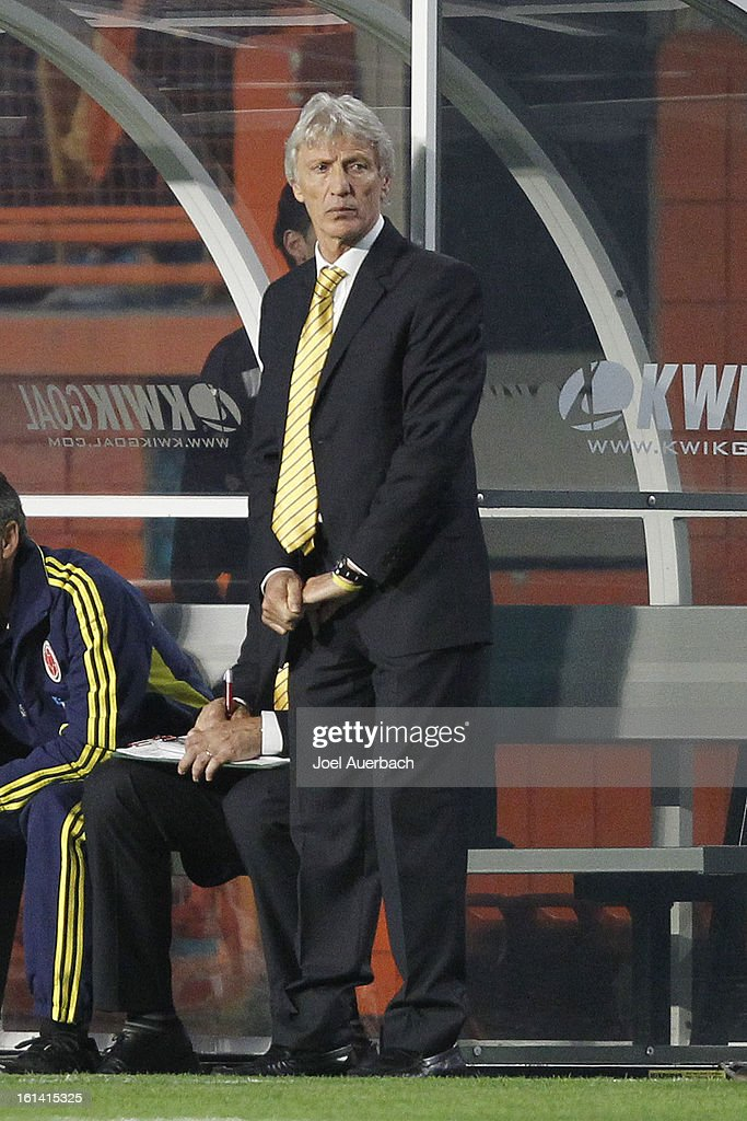 Head coach Jose Nestor Pekerman of Colombia looks on during first half action against Guatemala on February 6, 2013 at SunLife Stadium in Miami Gardens, Florida. Colombia defeated Guatemala 4-1.