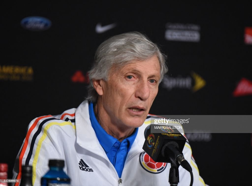 Head coach Jose Nestor Pekerman of the Colombia team speaks during a press conference on the eve of their COPA America 2016 3rd place final soccer match against the US at the University of Phoenix Stadium in Phoenix, Arizona on June 24, 2016. / AFP / Mark Ralston