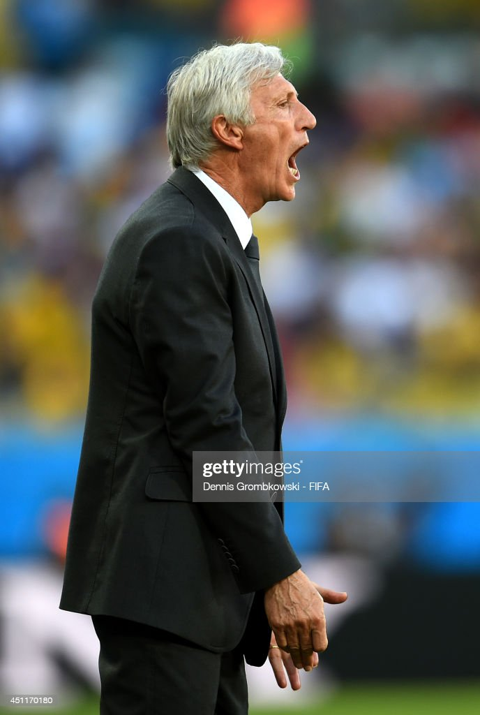 Head coach <a gi-track='captionPersonalityLinkClicked' href=/galleries/search?phrase=Jose+Pekerman&family=editorial&specificpeople=242856 ng-click='$event.stopPropagation()'>Jose Pekerman</a> of Colombia looks on during the 2014 FIFA World Cup Brazil Group C match between Japan and Colombia at Arena Pantanal on June 24, 2014 in Cuiaba, Brazil.