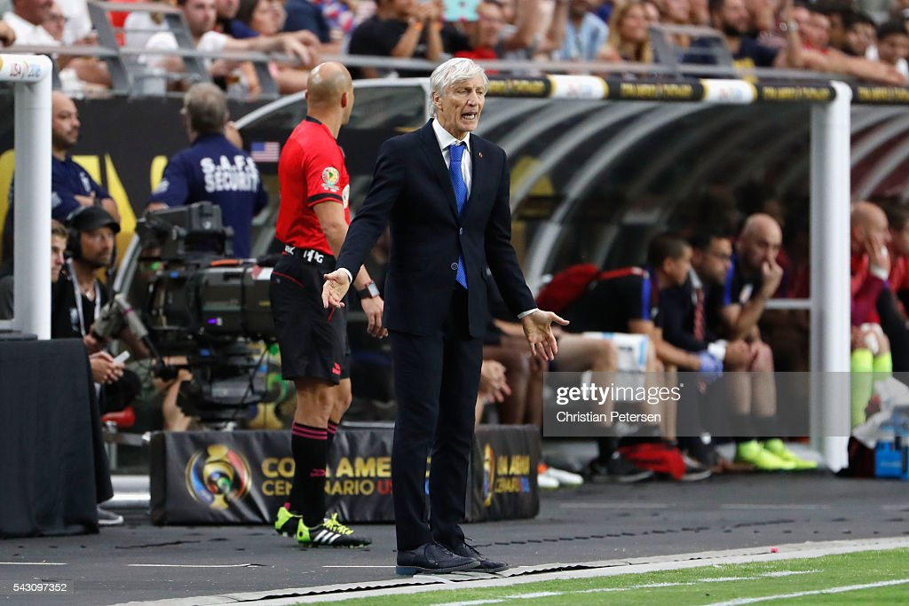 Head coach <a gi-track='captionPersonalityLinkClicked' href=/galleries/search?phrase=Jose+Pekerman&family=editorial&specificpeople=242856 ng-click='$event.stopPropagation()'>Jose Pekerman</a> of Colombia reacts during the first half of the 2016 Copa America Centenario third place match at University of Phoenix Stadium on June 25, 2016 in Glendale, Arizona.