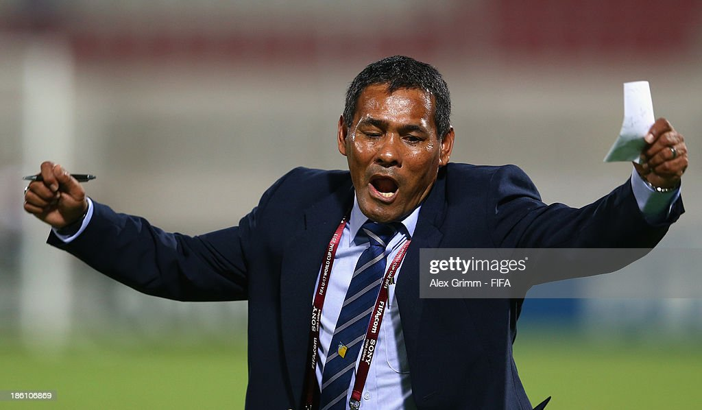 Head coach Jose Valladares of Honduras celebrates after Jorge Bodden scored his team's first goal during the FIFA U-17 World Cup UAE 2013 Round of 16 match between Honduras and Uzbekistan at Sharjah Stadium on October 28, 2013 in Sharjah, United Arab Emirates.