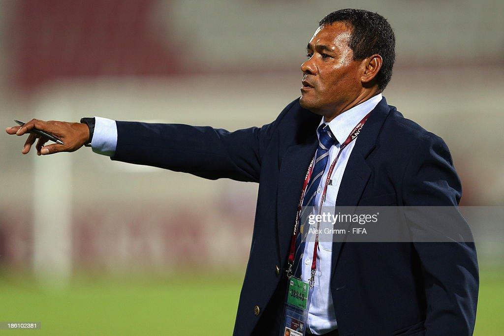 Head coach Jose Valladares of Honduras gestures during the FIFA U-17 World Cup UAE 2013 Round of 16 match between Honduras and Uzbekistan at Sharjah Stadium on October 28, 2013 in Sharjah, United Arab Emirates.