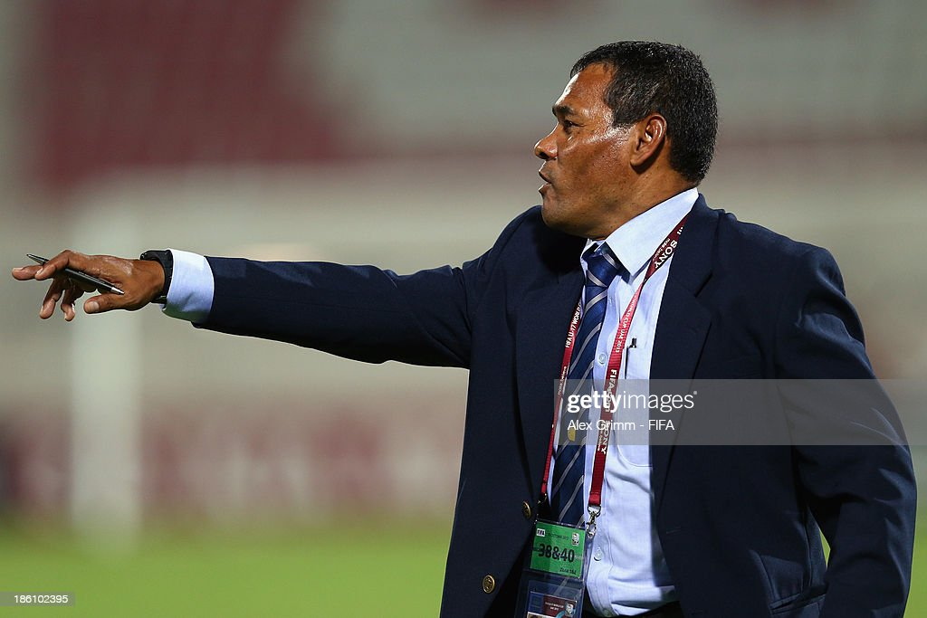 Head coach Jose Valladares of Honduras gestures during the FIFA U-17 World Cup UAE 2013 Round of 16 match between Honduras and Uzbekistan at Sharjah Stadium on October 28, 2013 in Sharjah, United Arab Emirates.