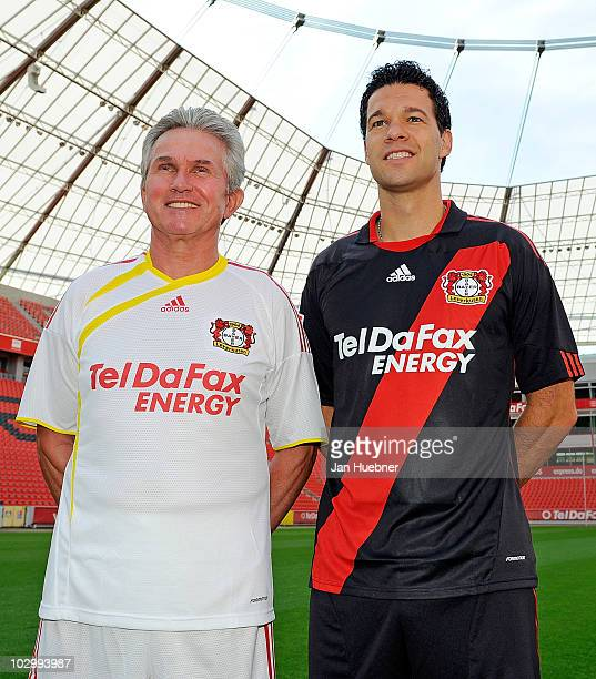 Head coach Josef Jupp Heynckes and Michael Ballack pose during the Bayer Leverkusen team presentation at Bayarena Stadium on July 20 2010 in...