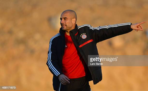 Head coach Josep Guardiola gestures during a Bayern Muenchen training session ahaed of the FIFA Club World Cup Final against Raja Casablanca at...