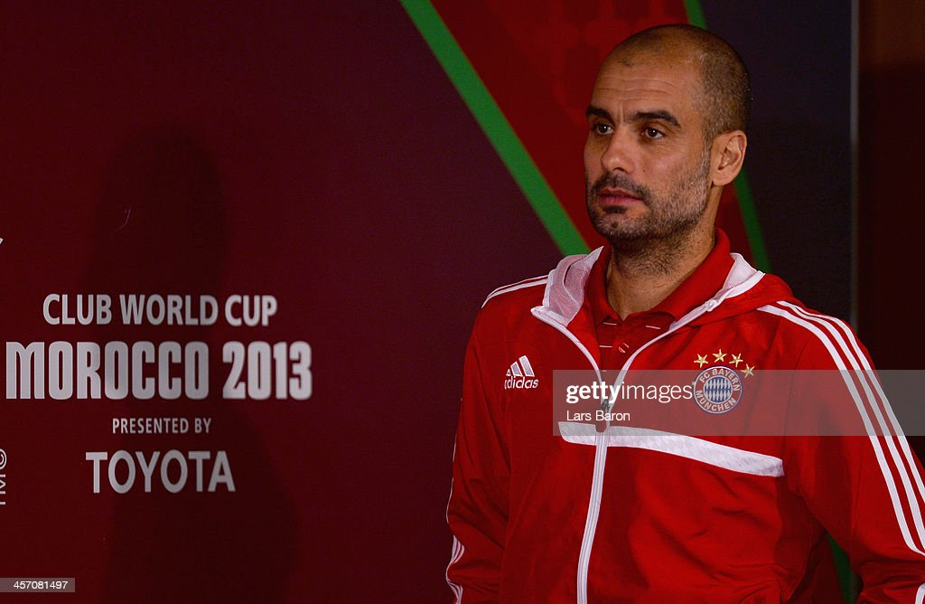 Head coach Josep Guardiola looks on during a Bayern Muenchen press conference for the FIFA Club World Cup at Agadir Stadium on December 16, 2013 in Agadir, Morocco.