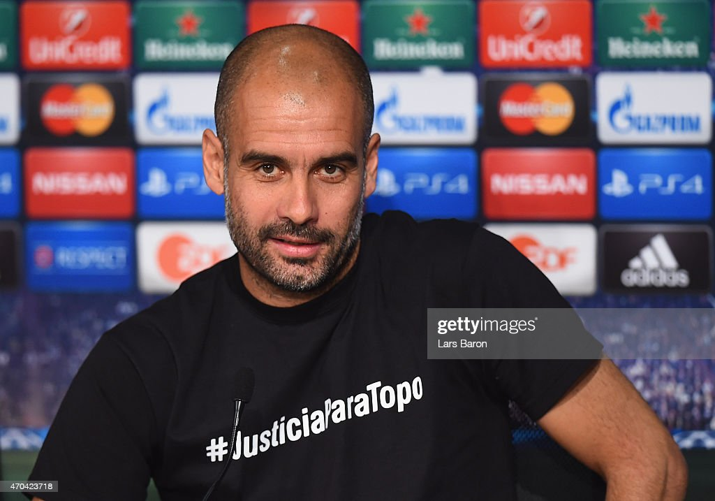 Head coach <a gi-track='captionPersonalityLinkClicked' href=/galleries/search?phrase=Josep+Guardiola&family=editorial&specificpeople=2088964 ng-click='$event.stopPropagation()'>Josep Guardiola</a> looks on during a press conference prior to their UEFA Champions League Quarter Final second leg match at Allianz Arena on April 20, 2015 in Munich, Germany.