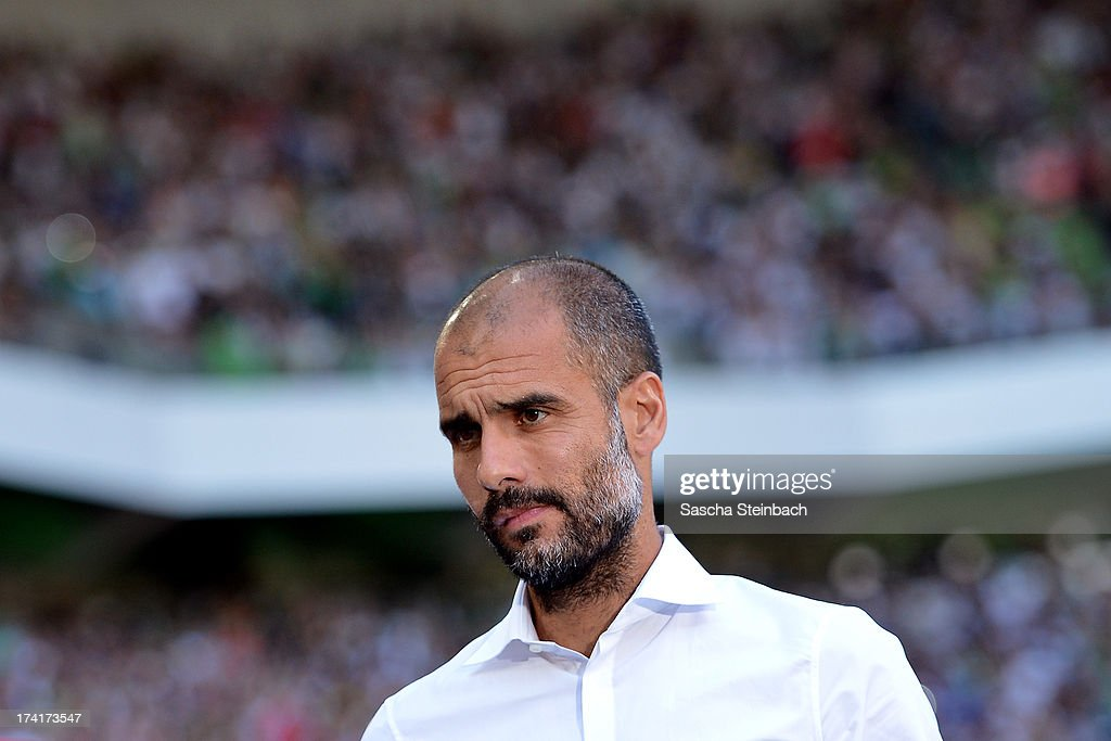 Head coach Josep Guardiola looks on prior to the Telekom Cup 2013 final match between Borussia Moenchengladbach and FC Bayern Muenchen at Borussia-Park on July 21, 2013 in Moenchengladbach, Germany.