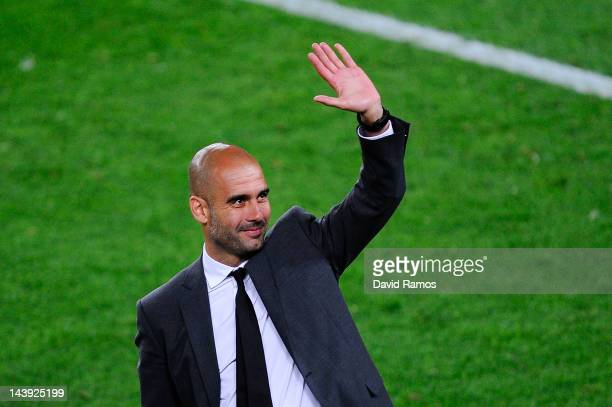 Head coach Josep Guardiola of FC Barcelona acknowledge the fans at the end of the La Liga match between FC Barcelona and RCD Espanyol at Camp Nou on...