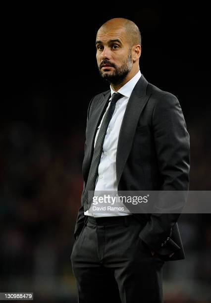 Head coach Josep Guardiola of FC Barcelona looks on during the La Lliga match between FC Barcelona and RCD mallorca at Camp Nou on October 29 2011 in...