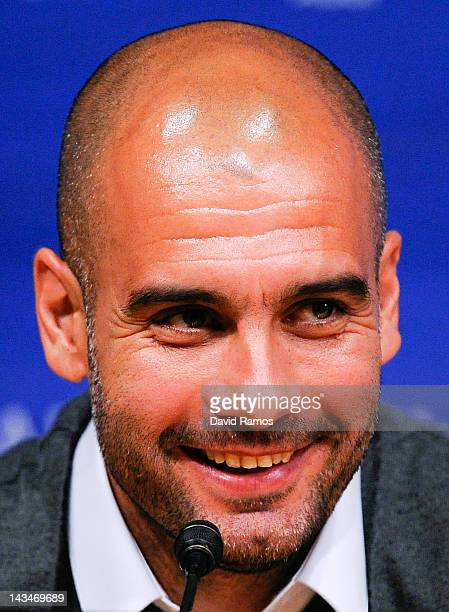 Head coach Josep Guardiola of FC Barcelona smiles during the press conference at the Camp Nou stadium on April 27 2012 in Barcelona Spain Josep...