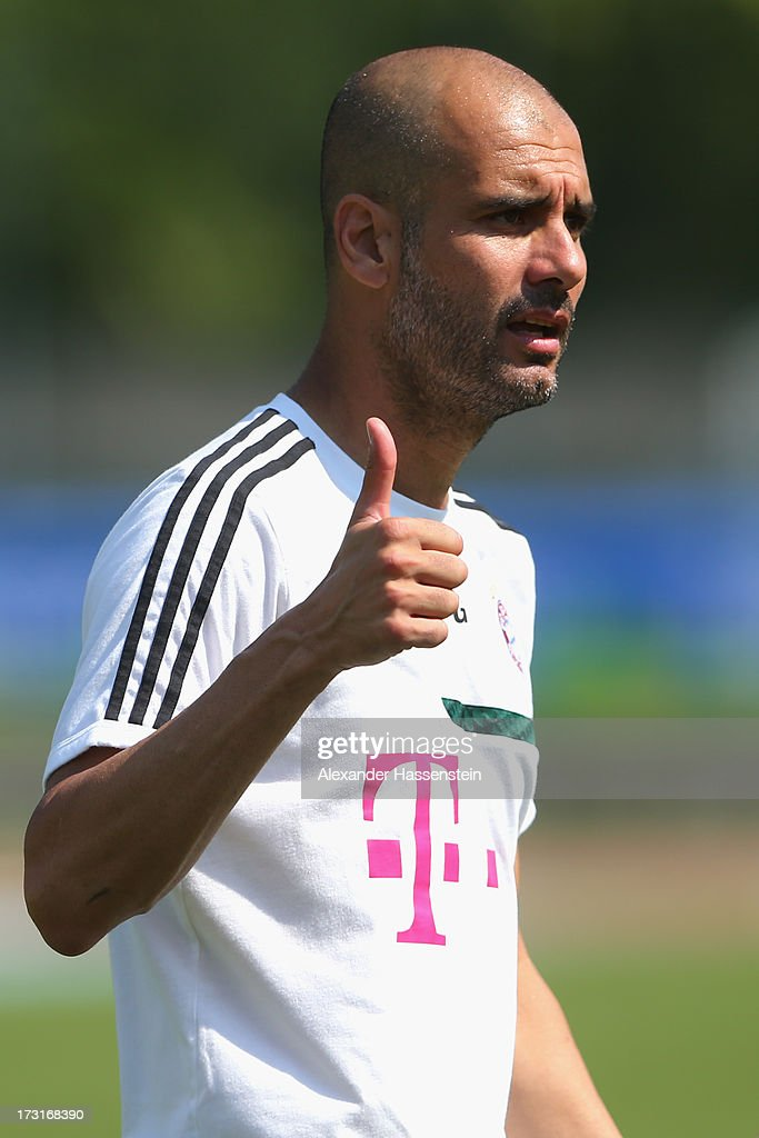 Head coach Josep Guardiola of FC Bayern Muenchen gesture during a training session at Campo Sportivo on July 9, 2013 in Arco, Italy.