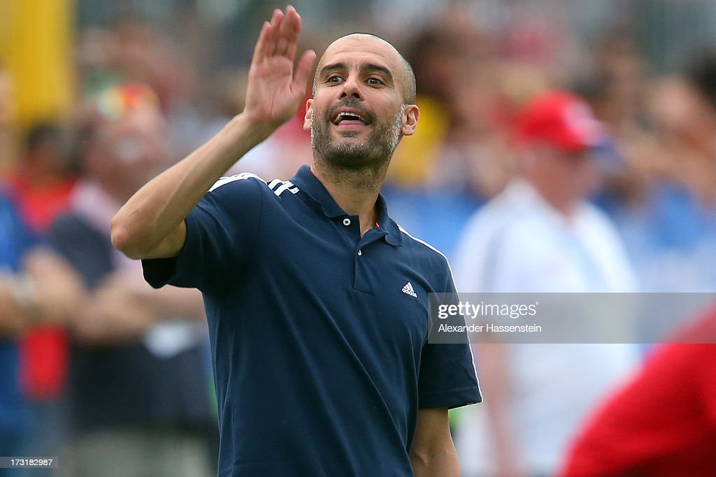 Head coach Josep Guardiola of FC Bayern Muenchen gesture during the friendly match between Brescia Calcio and FC Bayern Muenchen at Campo Sportivo on July 9, 2013 in Arco, Italy.