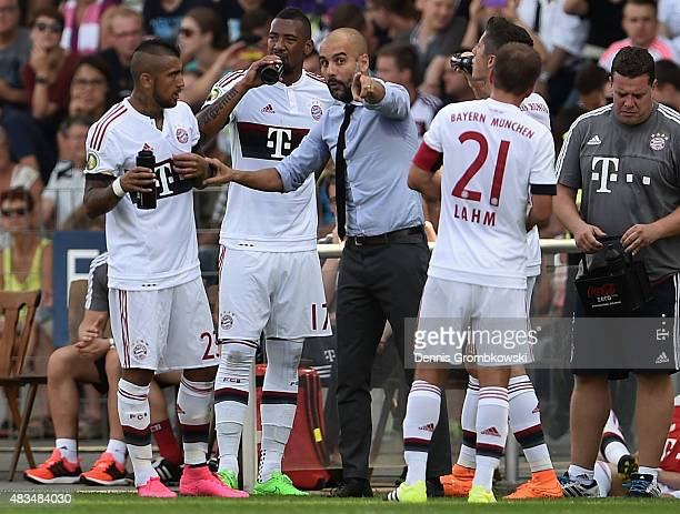 Head coach Josep Guardiola of FC Bayern Muenchen reacts during the DFB Cup First Round match between FC Noettingen and FC Bayern Muenchen on August 9...