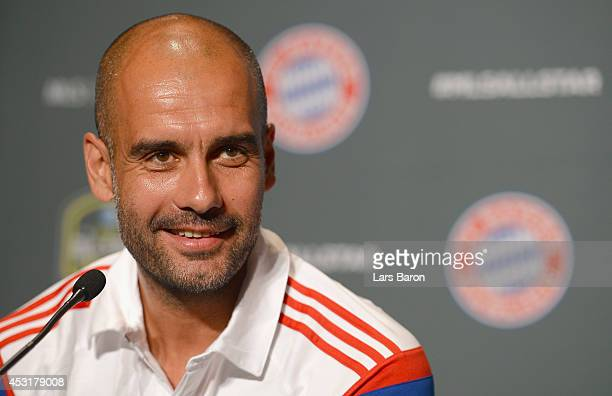 Head coach Josep Guardiola of Muenchen smiles during a press conference prior to the friendly match between the MLS Allstars and FC Bayern Muenchen...