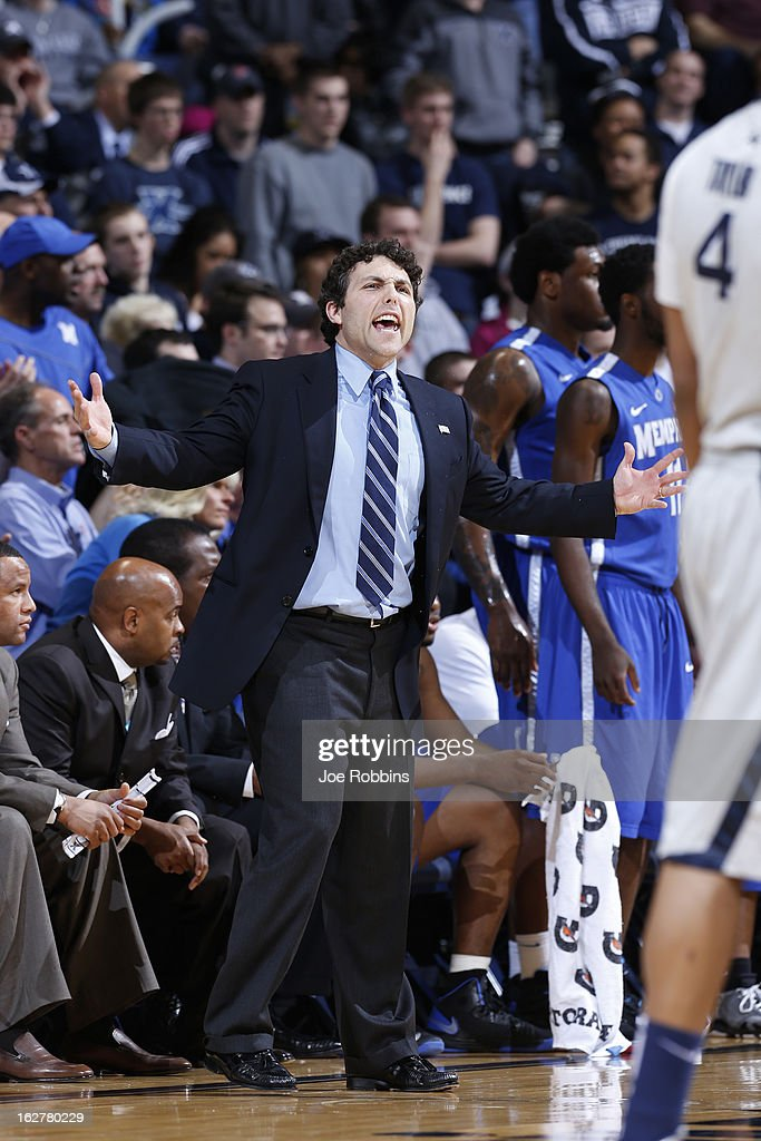 Head coach Josh Pastner of the Memphis Tigers reacts during the game against the Xavier Musketeers at Cintas Center on February 26, 2013 in Cincinnati, Ohio. Xavier defeated Memphis 64-62.