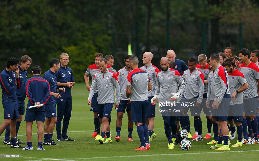 Head coach Jürgen Klinsmann of the United States sends the US Men's National Team over to their training session after a team meeting at Sao Paulo FC on June 10, 2014 in Sao Paulo, Brazil.