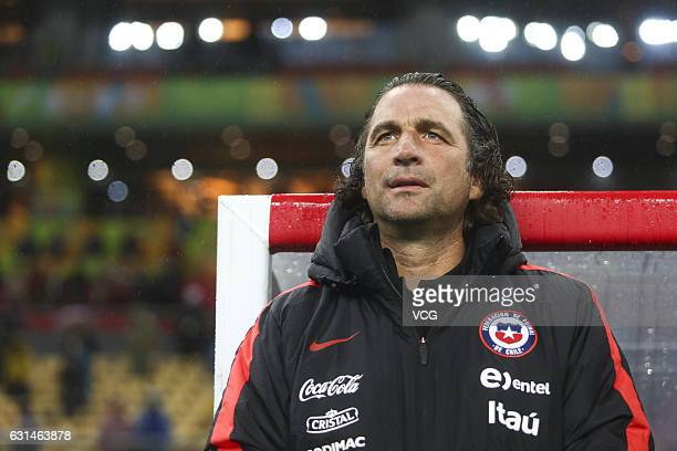 Head coach Juan Antonio Pizzi of Chile attends the semifinal match of 2017 Gree China Cup International Football Championship between Croatia and...