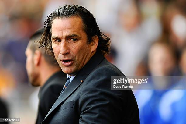 Head coach Juan Antonio Pizzi of Valencia looks on prior to the La Liga match between Valencia CF and Club Atletico de Madrid at Estadio Mestalla on...