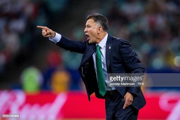 Head Coach Juan Carlo Osorio of Mexico gestures during the FIFA Confederations Cup Russia 2017 group A football match between Mexico and New Zealand...