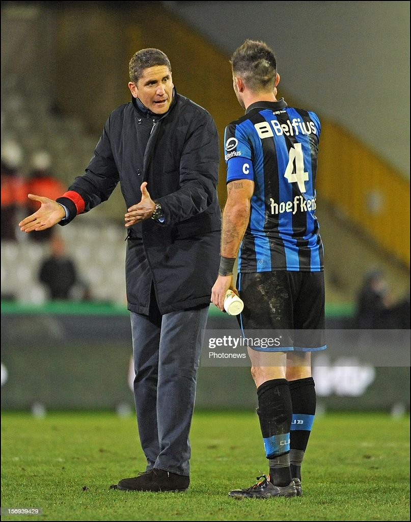 Head coach Juan Carlos Garrido of Club Brugge KV and Carl Hoefkens of Club Brugge KV pictured during the Jupiler League match between Club Brugge K.V and R.C.S.Charleroi November 25, 2012 in Brugge, Belgium.