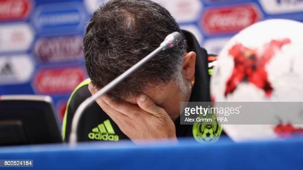 Head coach Juan Carlos Osorio attends a Mexico press conference at Fisht Olympic stadium ahead of their FIFA Confederations Cup Russia 2018 semifinal...