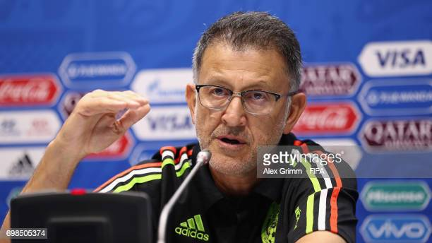 Head coach Juan Carlos Osorio attends a Mexico press conference during the FIFA Confederations Cup Russia 2017 at Fisht Olympic Stadium on June 20...