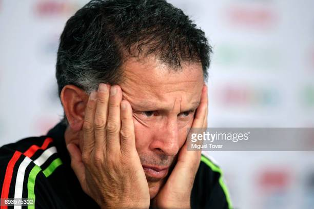 Head coach Juan Carlos Osorio gestures during a press conference after Mexico's national team training session at CAR on June 07 2017 in Mexico City...