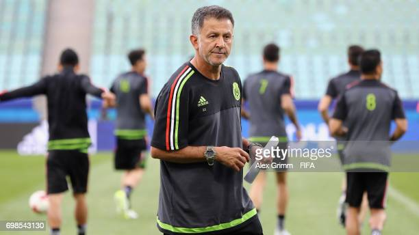Head coach Juan Carlos Osorio looks on during a Mexico training session during the FIFA Confederations Cup Russia 2017 at Fisht Olympic Stadium on...