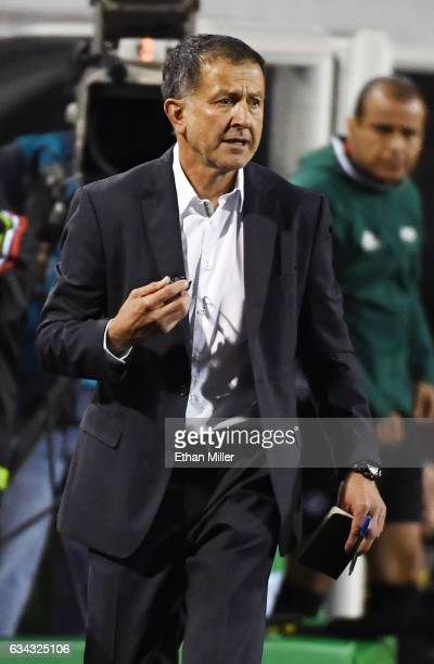 Head coach Juan Carlos Osorio of Mexico looks on during his team's exhibition match against Iceland at Sam Boyd Stadium on February 8 2017 in Las...