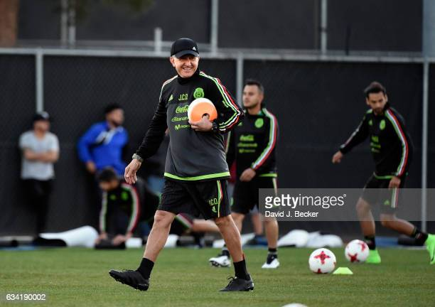 Head coach Juan Carlos Osorio of Mexico sets up markers for a practice at UNLV ahead of the Mexico National Team's inaugural match of its 2017 US...