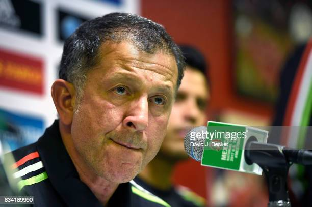 Head coach Juan Carlos Osorio of Mexico speaks during a news conference at UNLV ahead of the Mexico National Team's inaugural match of its 2017 US...
