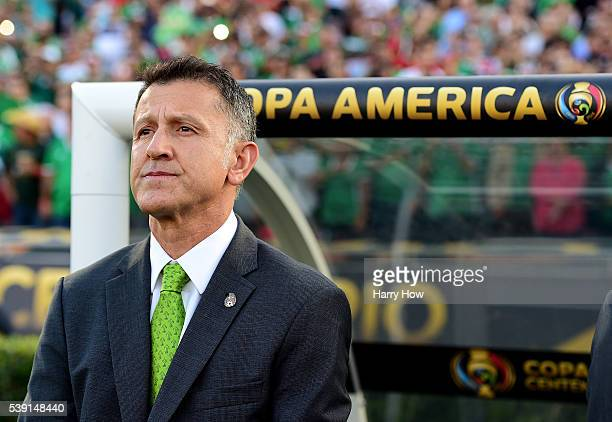 Head Coach Juan Carlos Osorio of Mexico waits before the start of play against Jamaica during Copa America Centenario at Rose Bowl on June 9 2016 in...